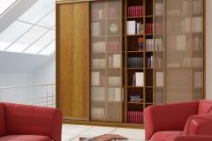 Библтотека с раздвижными дверями из стекла бронза и лдсп