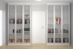 Встроенный шкаф для книг. Дверки из стекла в рамке МДФ