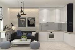 Кухня-студия. Вариант для малогабаритной квартиры