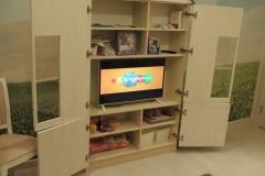 Домик-шкаф с полками и местом для телевизора