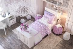 Комната для девочки. Шкафы. стол, кровать. Фасады из массива дерева
