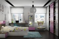 Детская комната из белого и сиреневого глянцевого материала. Встроенный шкаф с распашными дверками, тумбы, стол