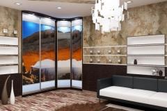Встроенный угловой шкаф с фотопечатью в гостиной