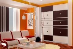 Встроенный шкаф купе в интерьере гостиной