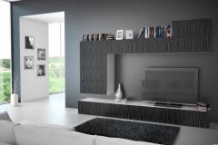 Шкафы для гостиной с фасадами из глянцевого материала