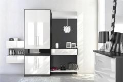 Мебель для прихожей Шкафчик с выдвижными ящиками и распашными дверками Комод с выдвижными ящиками Материал фасадов белый глянец