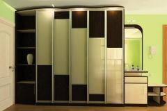 Тумба с зеркалом и шкаф с распашными дверками в алюминиевом профиле со вставками из стекла и лдсп для прихожей
