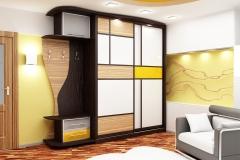 Шкаф купе в прихожей Открытая вешалка для одежды Раздвижные, комбинированные двери со вставками из разноцветного стекла и лдсп Подсветка