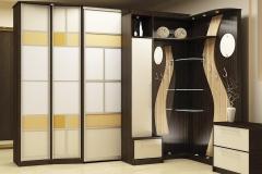 Угловой шкаф для прихожей Распашные дверки в алюминиевом профиле со вставками из стекла Радиусные, стеклянные подсвеченные полки Точечные светильники