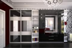 Шкаф купе в прихожую Раздвижные дери со вставками из чёрного стекла Шкаф с распашными дверками и с зеркалом Материал дверок чёрный глянец