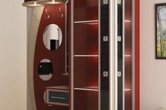 Прихожая из глянцевого материала Дверки в алюминиевом профиле со вставкой из стекла Подсветка Круглые зеркала Вешалка с крючками, тумбой и выдвижным ящиком