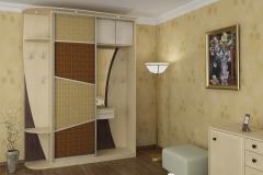 Шкаф для прихожей с одной сдвижной дверью в алюминиевом профиле со вставками из ротанга. Вешалка с крючками, зеркало,антресоли, подсветка