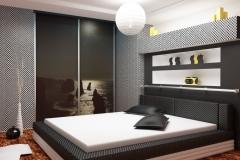 Встроенный шкаф-купе в спальне. Двери купе в алюминиевом профиле с фотопечатью. Открытые полки над кроватью.