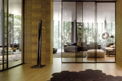 Межкомнатные перегородка; верхнеподвесная система; алюминиевый профиль; вставка прозрачное стекло;