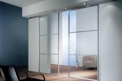 Межкомнатные перегородки; верхнеподвесная система; алюминиевый профиль; вставка- прозрачное стекло из 3-х сегментов