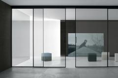 Межкомнатные перегородки; верхнеподвесная система;алюминиевый профиль, вставка стекло