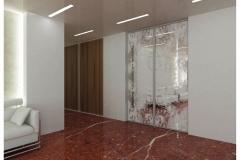Раздвижные двери в алюминиевом профиле со вставкой из стекла с рисунком