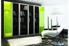 Распашные дверки из прозрачного и салатового стекла в алюминиевом профиле