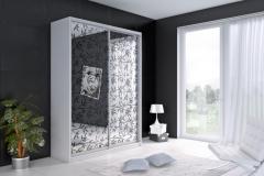 Шкаф с раздвижными дверями из цветного художественного пескоструя