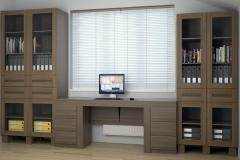 Кабинет. Стол компьютерный с тумбами. шкафы для книг и документов.Фасады из массива