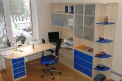 Угловой компьютерный стол с тумбой. Полки и шкафчики для книг и различных предметов.Материал - лдсп двух цветов. Распашные дверки из матового стекла в алюминиевой рамке.