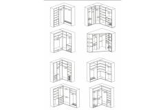 Схематичные варианты внутреннего наполнения угловых шкафов