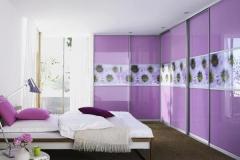 Встроенный уловой шкаф с раздвижными дверями в алюминиевом профиле со вставками из стекла и фотопечати