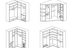 Рекомендуемое внутреннее наполнения угловых шкафов