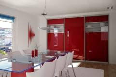 Встроенный шкаф с раздвижными дверями в обеденной зоне кухни Двери в алюминиевом профиле из цветного стекла со вставками из прозрачного стекла