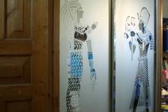Встроенный шкаф купе. Пескоструйный рисунок - Египтяне. Багетная рама.